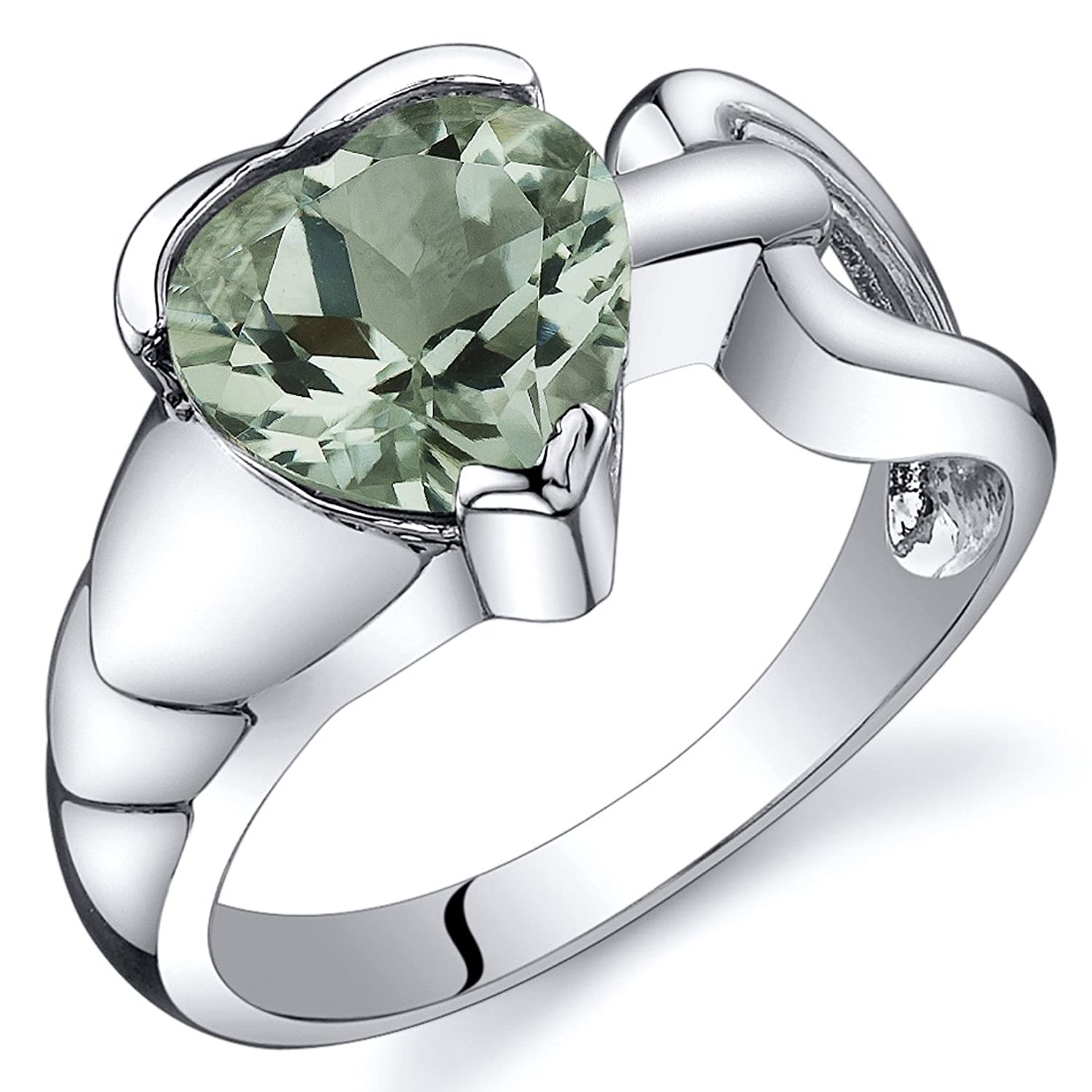 Green Amethyst Love Knot Ring Sterling Silver Rhodium Nickel Finish 1.50 Carats Sizes 5 to 9
