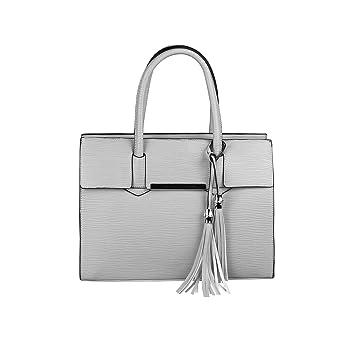 98ba4768f48fe OBC DAMEN TASCHE HANDTASCHE HENKELTASCHE Schultertasche Umhängetasche  Businesstasche Shopper Workbag (Hellgrau)