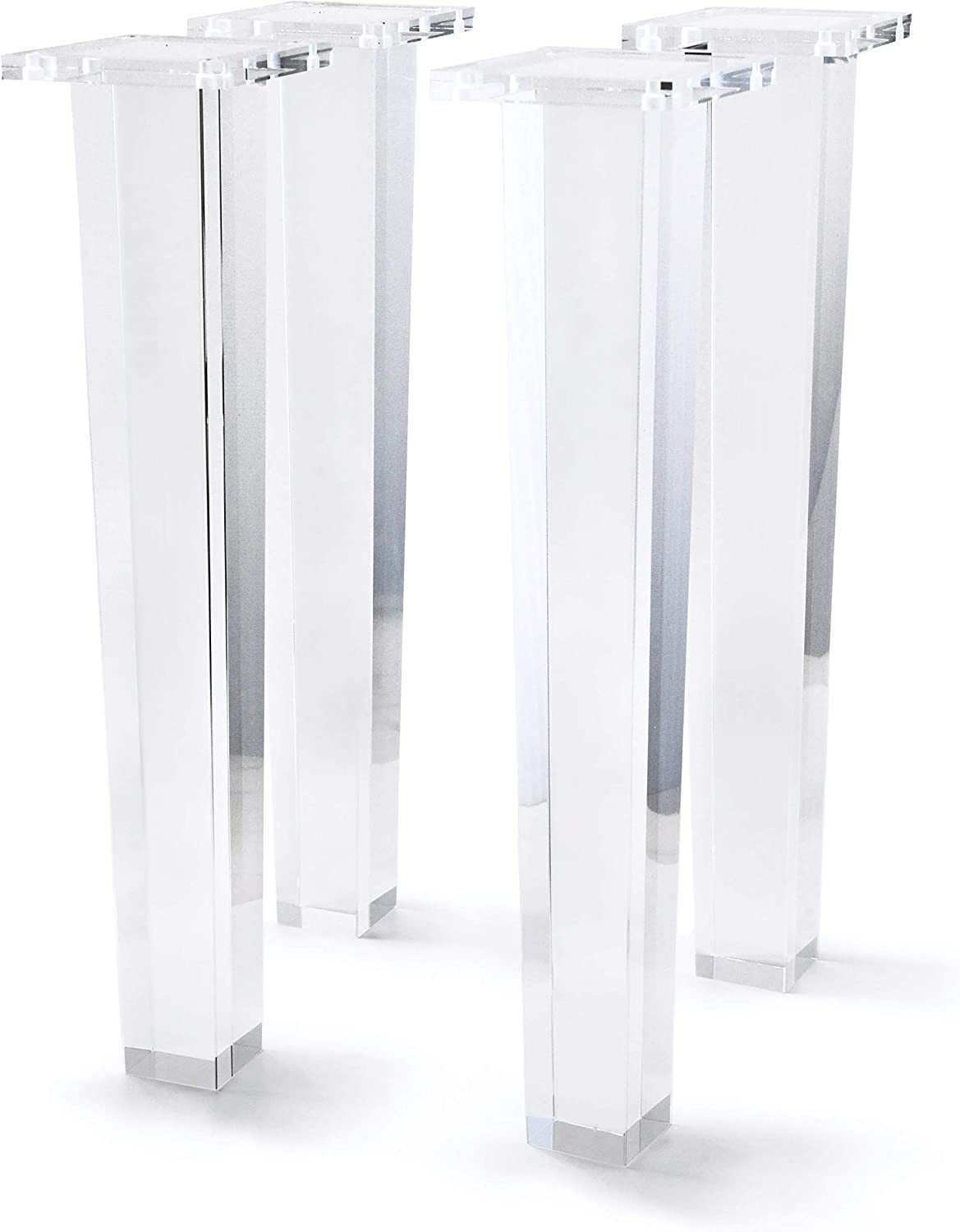 16 Inch Acrylic Furniture Legs Set of 4,Coffee Table,Desk,Bench Replacement Leg Home DIY Projects Modern Clear Decor (Square Leg)