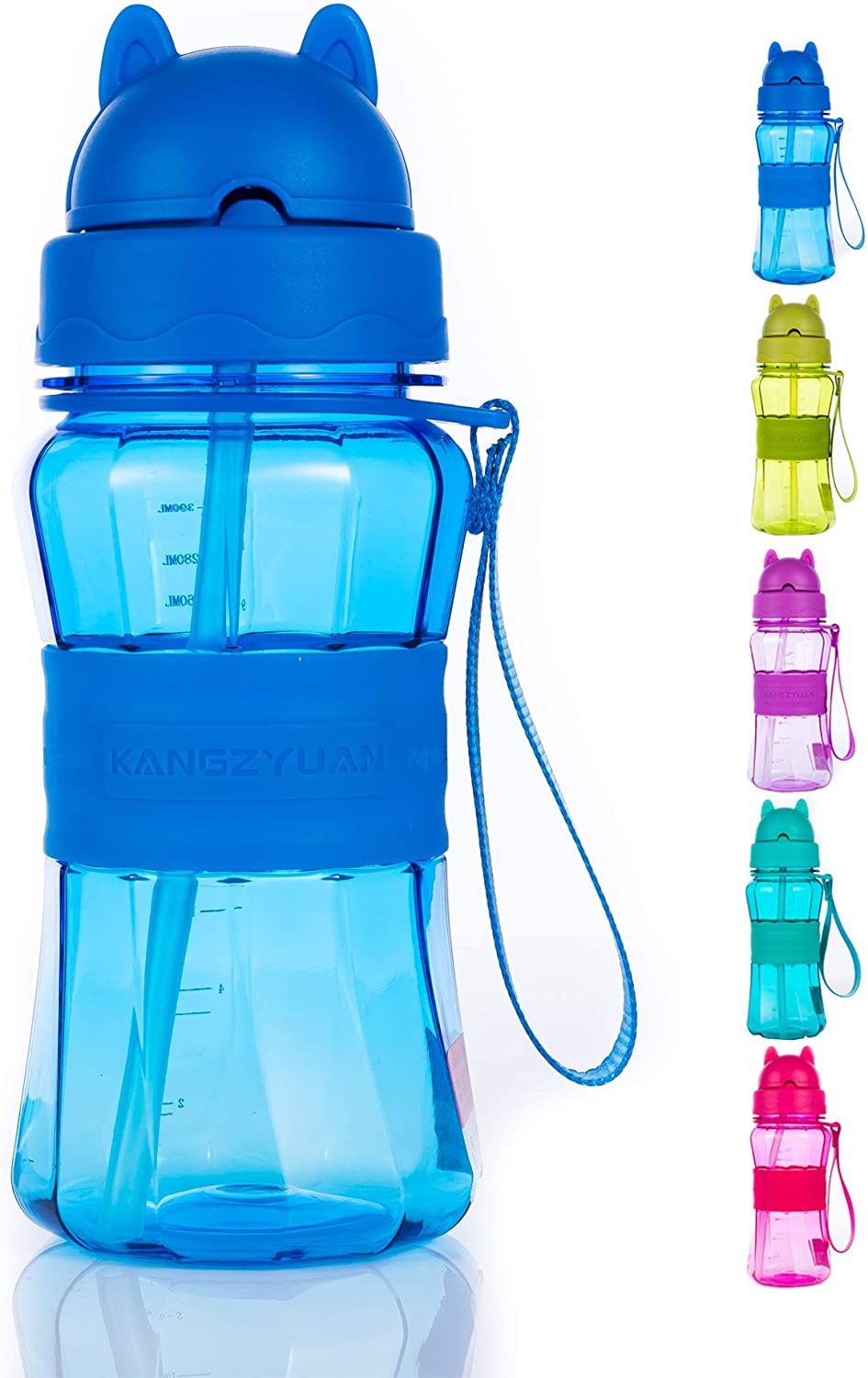 Water Bottle for Kids with Straw, 12oz, BPA Free, Leak Proof, Carrying Strap, Cute Cat Face Lid and Anti-skid Body Design, Lightweight and Kids Sized for Your Boys, Girls and School Students (Blue).