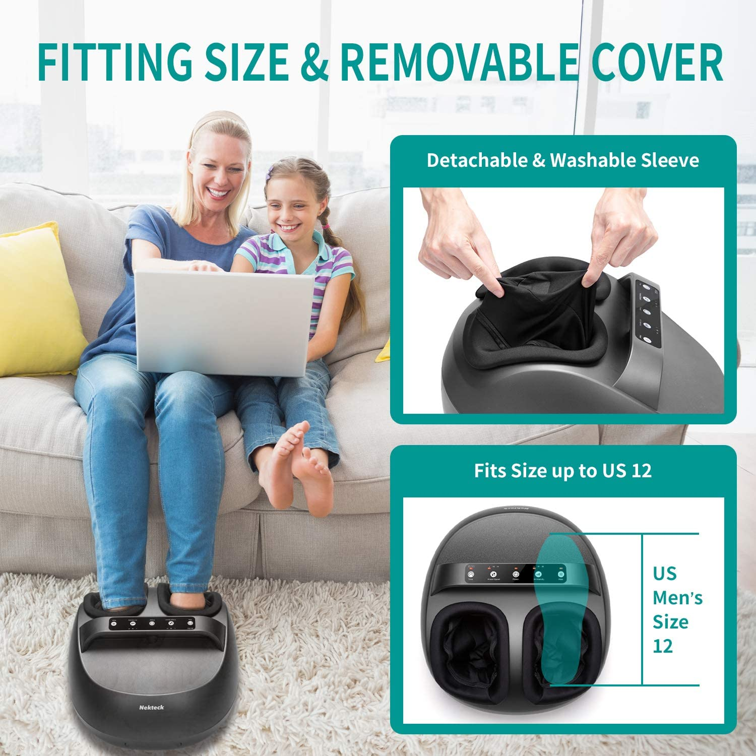 Nekteck Foot Massager Machine with Heat, Shiatsu Foot Massagers with Handle Design, 6 Mode with Kneading Rolling