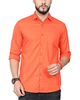 74b8ce3796c NORTH REPUBLIC Men s Orange Plain Matty Cotton Full Sleeves Casual Shirt