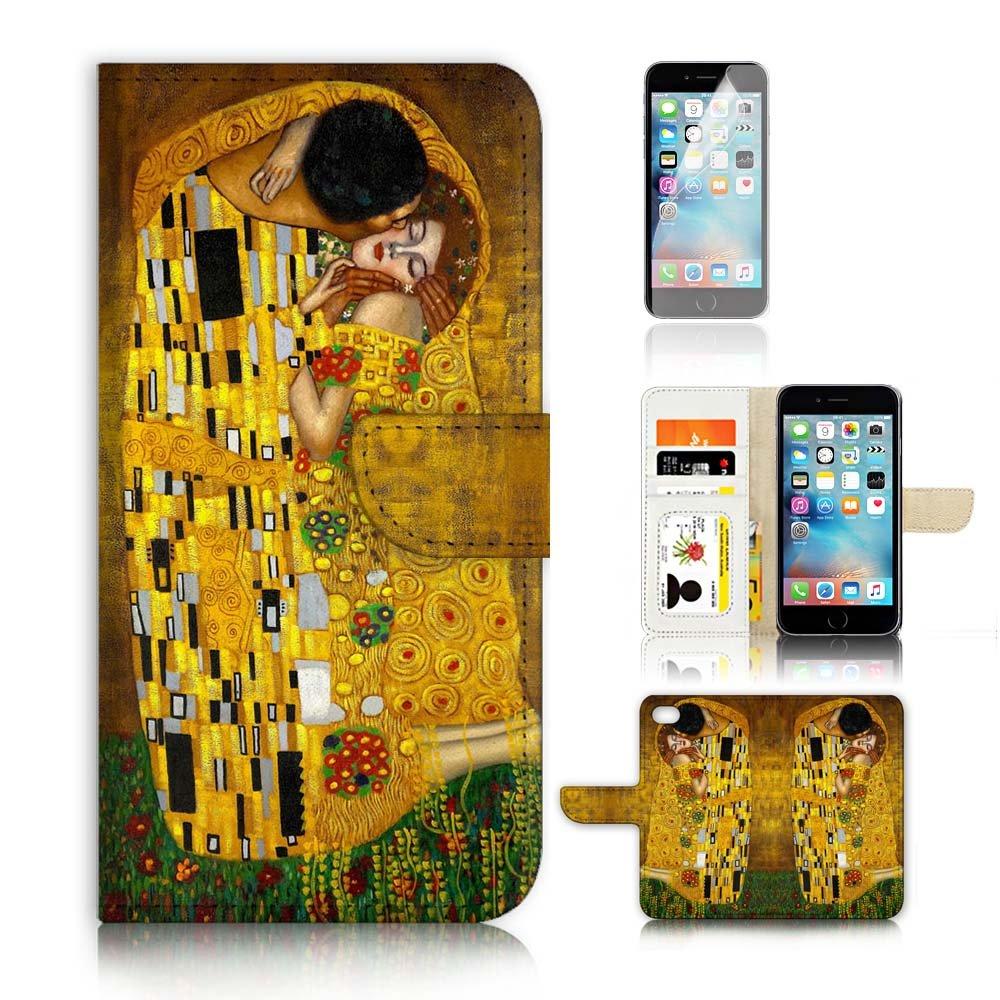 iPhone 7フリップウォレットケースカバー&スクリーンプロテクターバンドル! A0007キスクリムト   B01MUDJZ5I