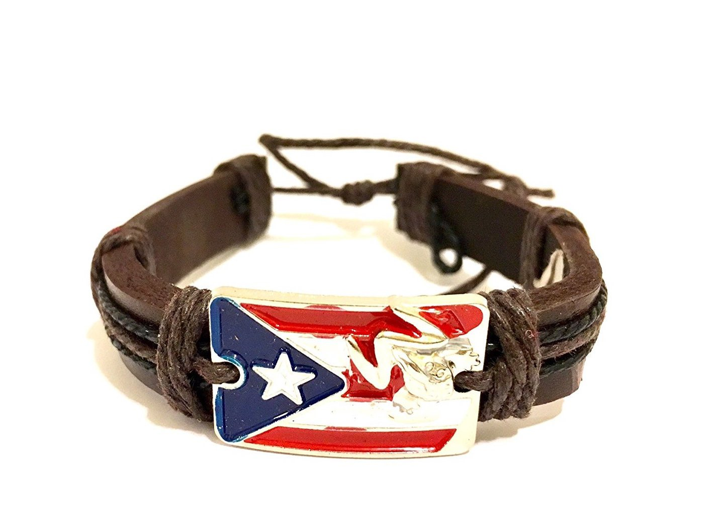 Boricua, Puerto Rico flag style wristband, Puerto Rican fashion bracelet leather tie up style by Unknown