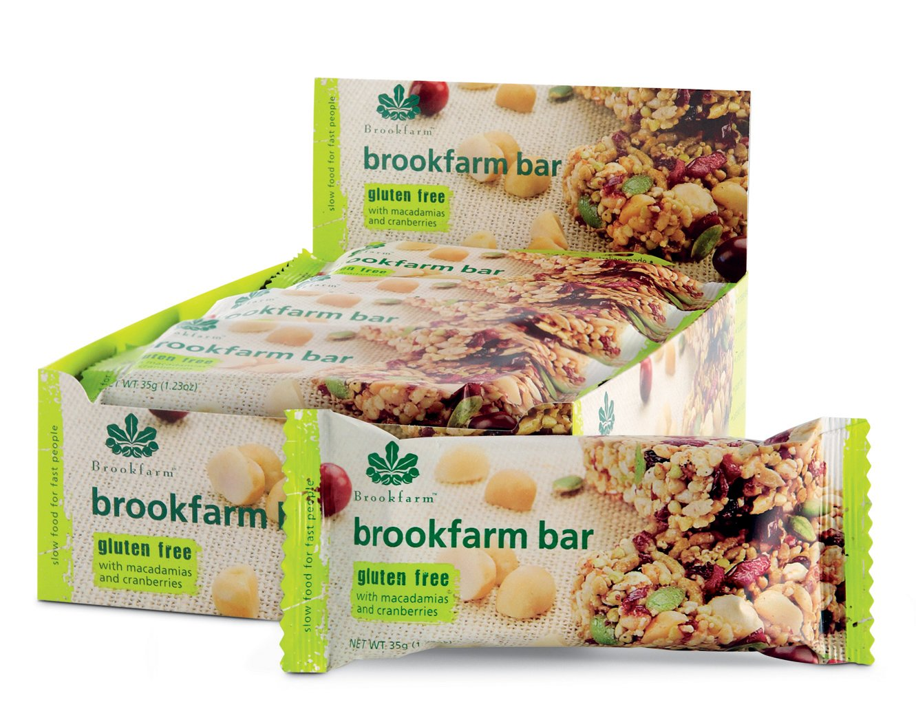 Brookfarm Gluten-Free Macadamia Muesli Bar with Cranberries, Carton of 12x1.2oz (12x35g) by Brookfarm (Image #2)