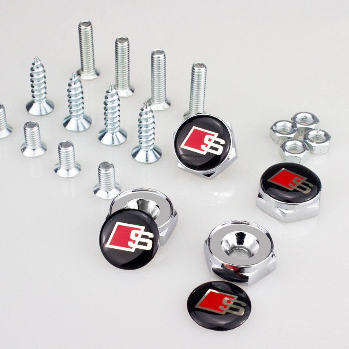 TK-KLZ 4Pcs for Audi S Line Logo Chrome Metal Sports Style Car License Plate Frame Universal Bolt Screws for ALL Model Audi S Line S3 S4 S5 S6 S7 S8 A1 A3 RS3 A4 A5 A6 A7 RS7 A8 Q3 Q5 Q7 R8 TT