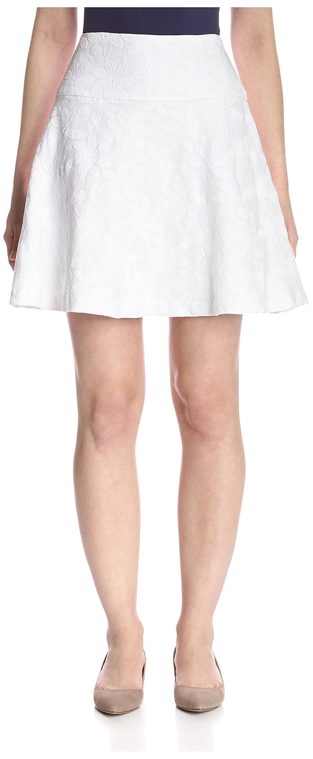 J. McLaughlin Women's Lilou Embroidered Linen Fit & Flare Skirt, White, 14 US