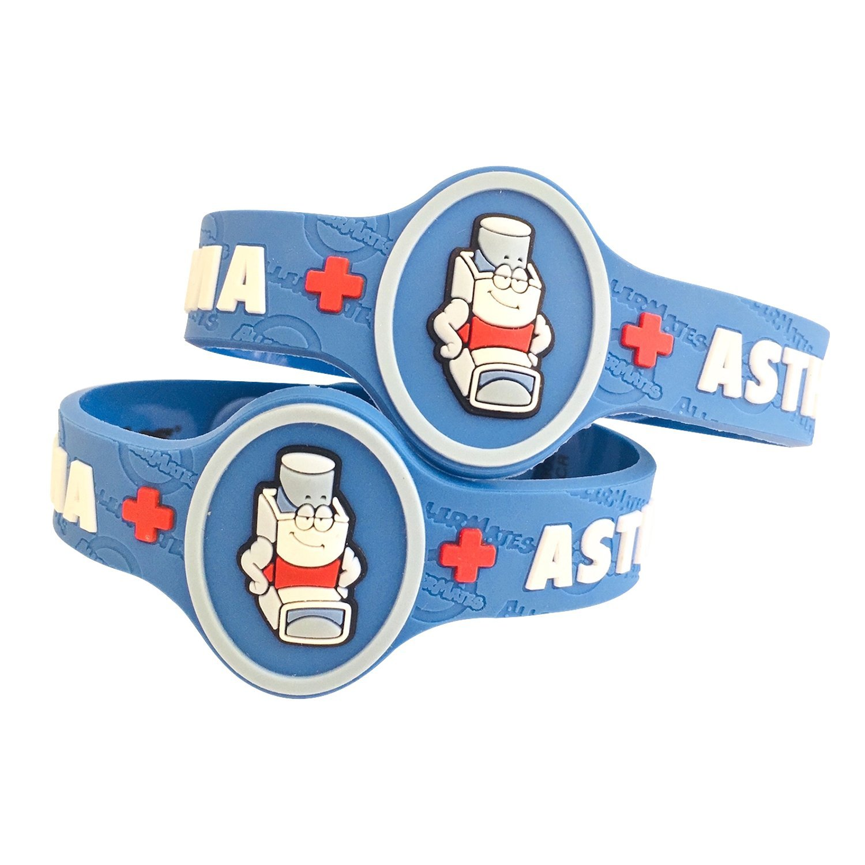 AllerMates Kids Medical Wristband - Asthma Medic Alert Awareness Bracelet (2 Pack)