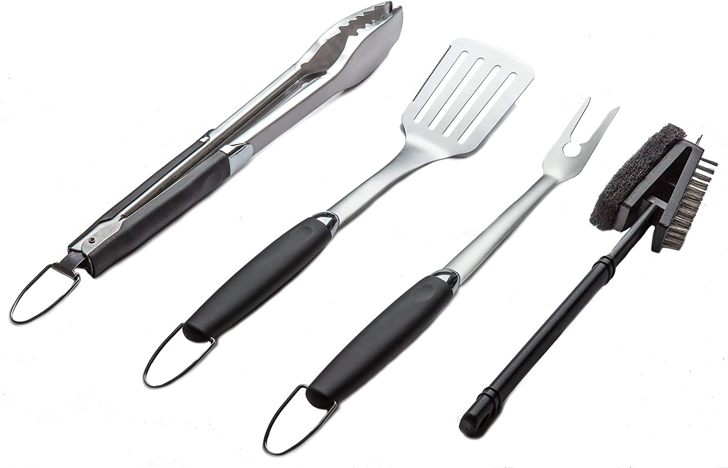 Simplistex Stainless Steel BBQ Grill Tool Set w/Tongs, Spatula, Fork and  Brush - Accessories for Outdoor Barbecue Grills