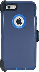 Hand-e Muscle Series Belt Clip Case for Apple iPhone 6 / iPhone 6s // Triple Layer Heavy Duty Protective Defender Cover w Screen Protector & Holster & Kickstand // Drop-Shock-Proof – Blue/Blue