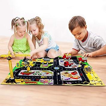 Fajiabao Coches de Juguetes Juego de Construccion para Niños con Alfombra Infantil,Mini Pull Back Camion Juguete y Grua Juguetes Educativos Niños 3 4 5 Años: Amazon.es: Juguetes y juegos