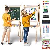 YOHOOLYO Kids Easel Wooden Children Art Easel Paper Roll,Double Sided Magnetic Whiteboard Chalkboard Dry Eraser Adjustable He