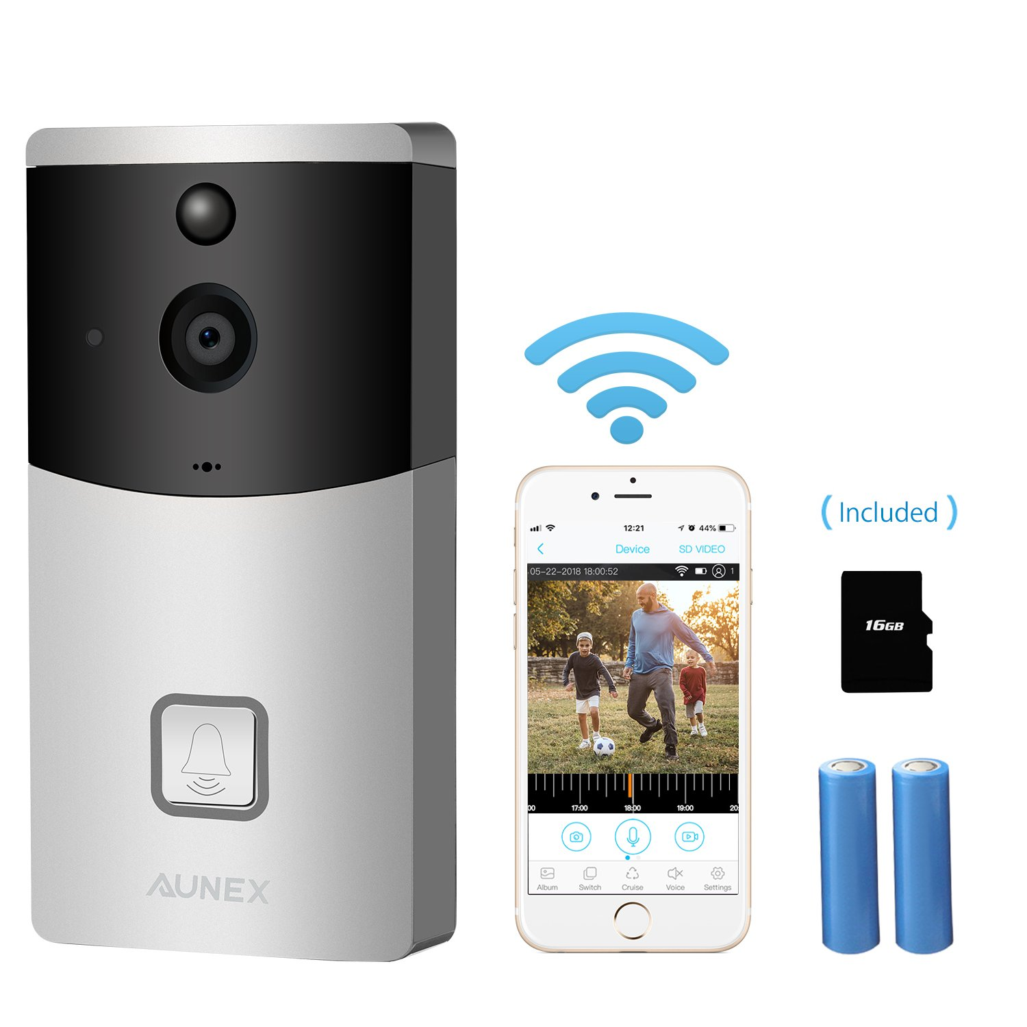 UPGRADED Video Doorbell,WIFI Wireless Doorbell Camera 720P HD Security Camera PIR Motion Detection Night Vision Real-Time Video TwoWay Audio Wideangle for IOS and Android Built-in 16GB SD Card(Silver)