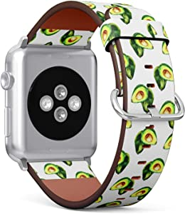 Compatible with Apple Watch 38/40mm (Small) - Replacement Accessory Leather Band Strap Bracelet Wristbands with Adapters (Watercolorn Avocado)