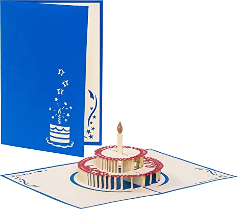 Biglietto Di Buon Compleanno Happy Birthday Con Torta Pop Up 3d