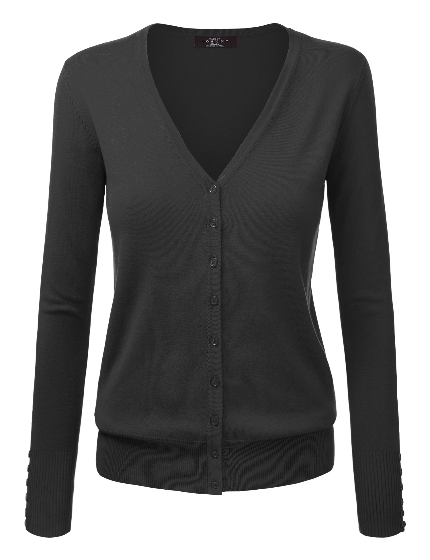 Made By Johnny WSK780 Womens Keep It Classic V Neck Cardigan M BLACK