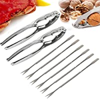 Costway Seafood Set Tool 8pc-2 Zinc Crab/Lobster Crackers & 6 Stainless Steel Fork Scoop