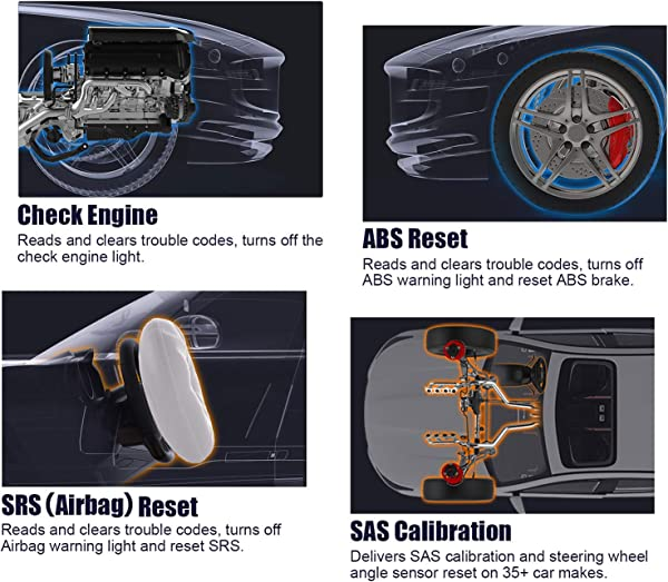 Works on 60+ vehicles make and most models worldwide. Identifies the cause of Check