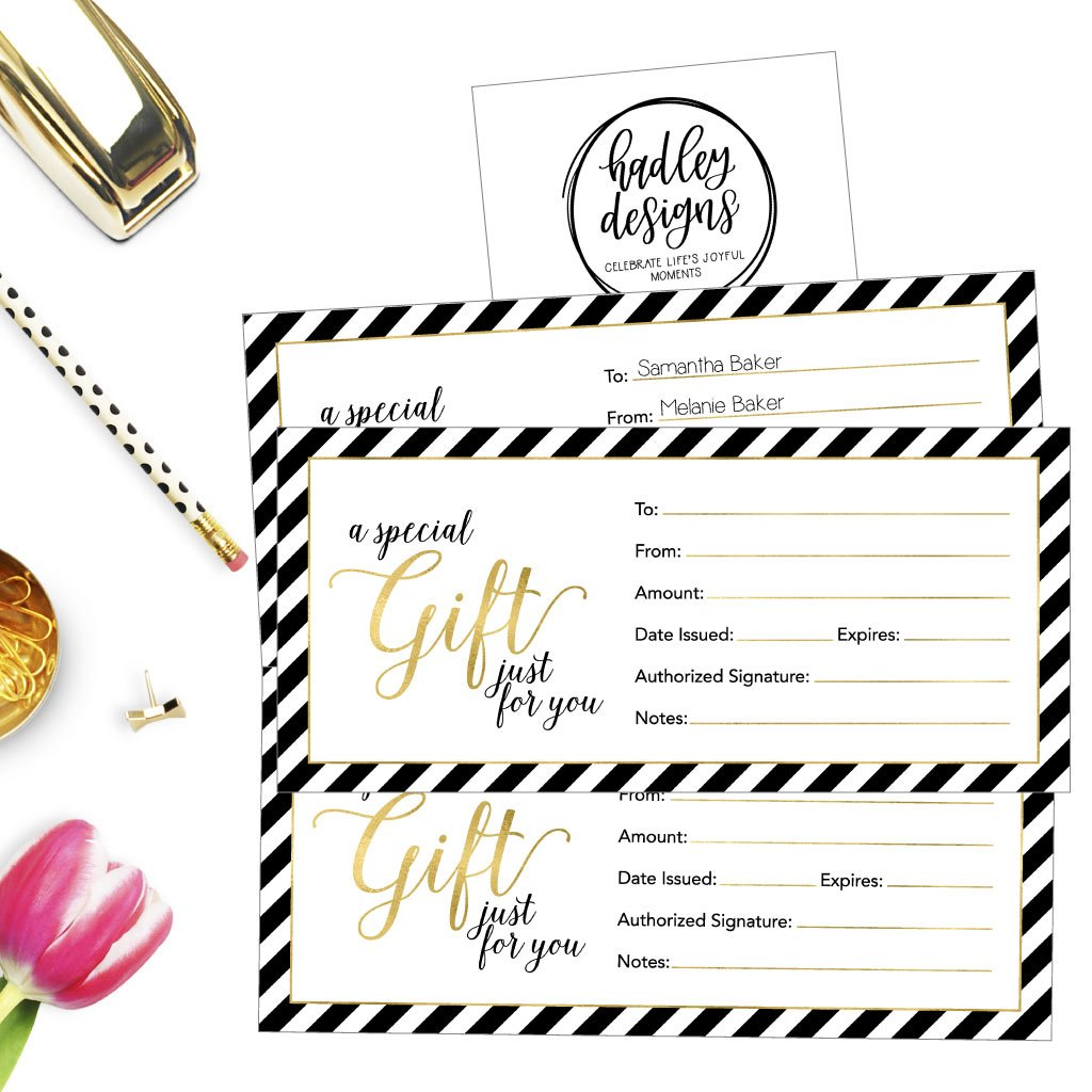 25 4x9 Cute Blank Gift Certificate Cards For Business, Restaurant, Spa, Beauty Makeup Hair Salon, Wedding, Bridal, Baby Shower Print Custom Personalized Bulk Template Kit Forms Printable by Hadley Designs (Image #2)