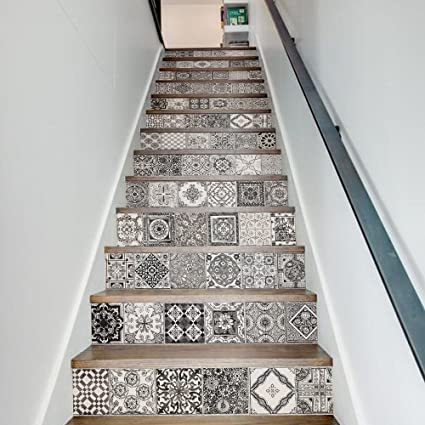 Funlife Stair Decor Wall Stickers Ceramic Tiles Patterns Art And Crafts  Mission And Vintage Style Stair