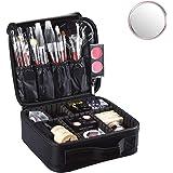 Idearsen Travel Make up Train Case, Waterproof Portable Storage Cosmetic Case, Professional Makeup Organizer Bag with Adjusta