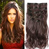 Clip in Hair Extensions, Neverland 22 Inch Hairpieces 7Pcs 16 Clips Thick Curly Straight Full Head in Double Weft Hair Extensions