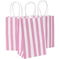 Road 14x8.5x20.5 CM 50pcs Pink Stripes Kraft Paper Bags with Handle, Shopping Bag, Retail bag, Craft Paper Bag, Merchandise Bag, Gift Bag, Party Bag