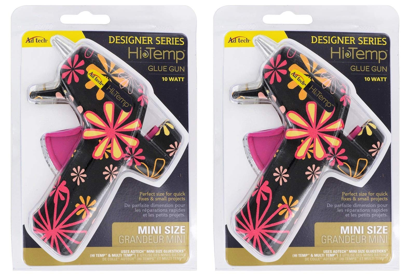 AdTech High Temp Mini Hot Glue Gun in Black Daisy | Arts and Crafts and DIY | Fun and Cute Tool | Item #0502 (Тwo Рack)