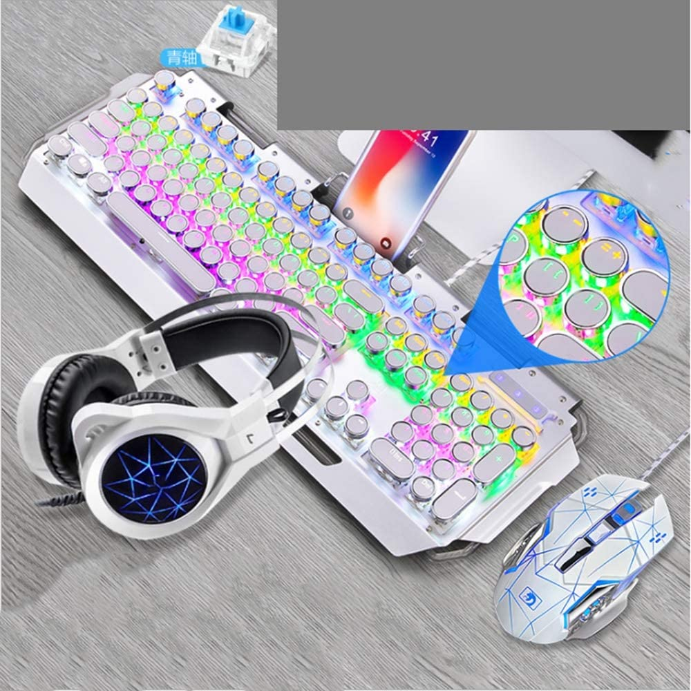 Color : White KJRJJP Mechanical Gaming Keyboard Mouse and Earphone Three-Piece Suit Gaming Headphones with Colorful Breath Light Black RGB LED Switch Metal Wired Keyboard 3200DPI Mouse