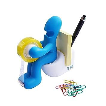 jiaqinsheng Creative Funny oficina dispensador de cinta pluma aguja Nota holder-blue: Amazon.es: Oficina y papelería