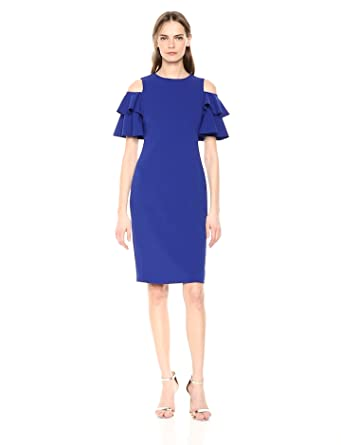 b3263e0f Calvin Klein Women's Cold Shoulder Sheath with Tiered Sleeve Dress,  Atlantis, ...