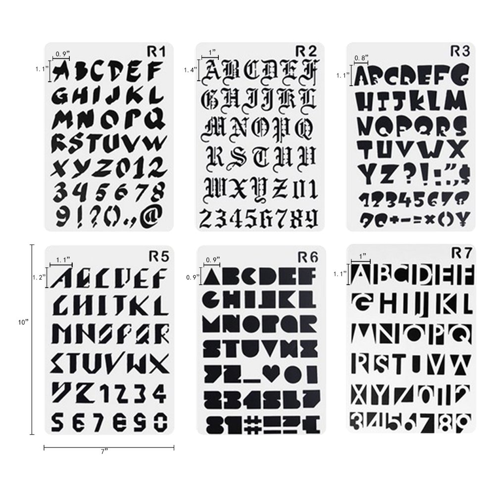plastic number and letter stencils templates set for painting and crafts set of 12 leafbaby