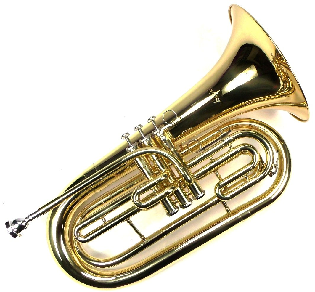 Advanced Monel Pistons Marching Baritone Key of Bb w/ Case & Mouthpiece-Gold Lacquer Finish by Moz