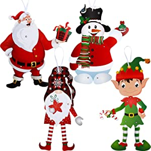 4 Funny Christmas Party Decoration Jointed Figures Gnomes Christmas Decoration, Santa Elves Snowman Cutouts Door Hanger Hanging Christmas Signs Wall Decoration Christmas Party Decor