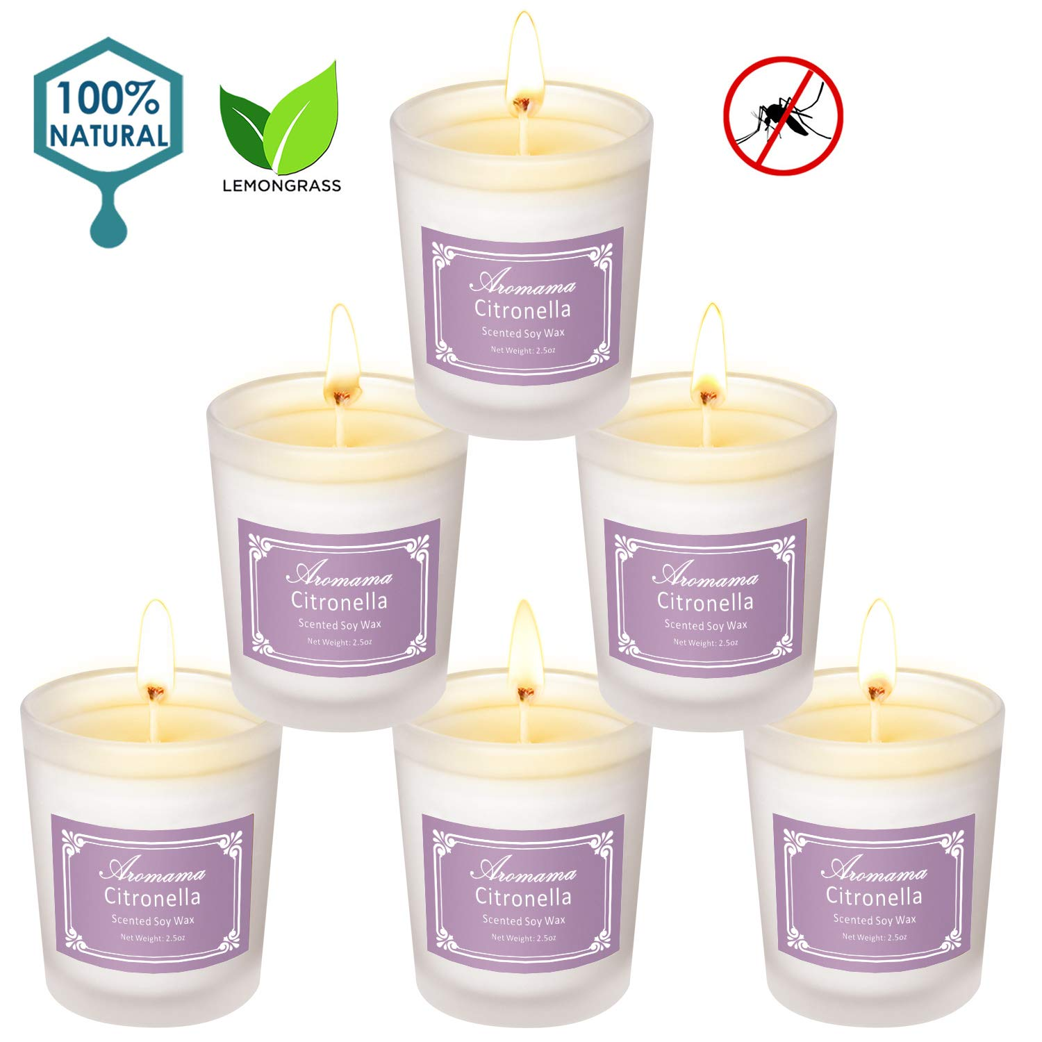 Aromama Pack of 6 Citronella Candles Indoor and Outdoor Scented Natural Soy Wax Glass Candle Gift Set by Aromama