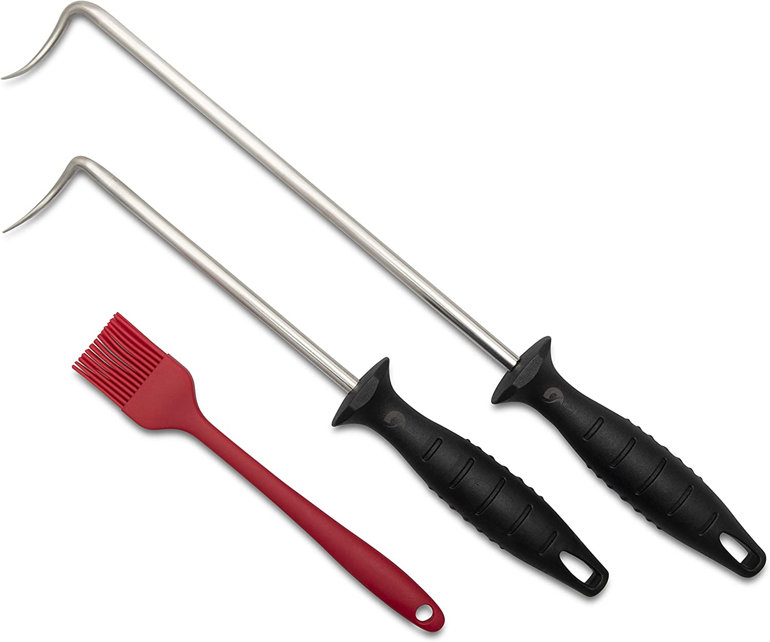 """dBack 2 Pigtail Food Flipper Set - 16"""" and 12.2"""" Stainless Steel Hooks Ideal Kitchen Tool for Cooking, BBQ, Grilling, Flipping, Turning Meat, Vegetables - Complete with Silicone Basting Brush"""