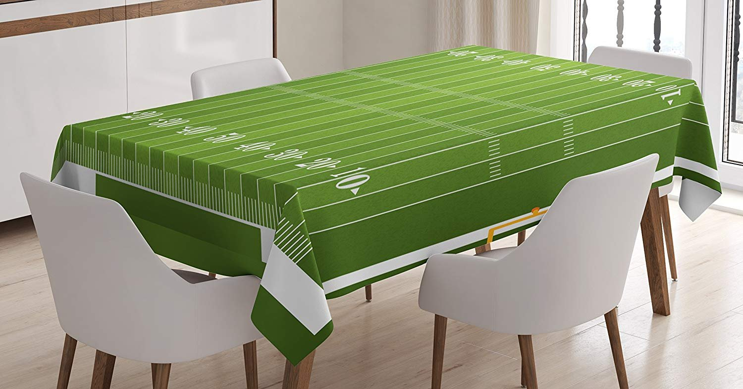 CHARMHOME Football Cotton Linen Tablecloth, Dining Room Kitchen Rectangular Table Cover 54(W) X54(L) inch, Sports Field in Green Gridiron Yard Competitive Games College Teamwork Superbowl