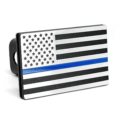 "MULL USA American Flag Aluminum Trailer Hitch Cover (Fits 2"" receivers, Aluminum Blue Line): Automotive"