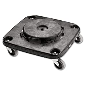 Rubbermaid Commercial RCP 3530 Black Steel/Vinyl/Wood/Rubber Brute Container Square Dolly, 250 lb. Capacity
