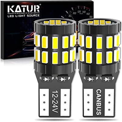 KATUR 194 T10 W5W 168 LED Light Bulb Super Bright 6000K Xenon White 30-SMD 3014 Chips 12-24V CANBUS Error Free LED Bulb Replacement for Car Dome Map Door Courtesy License Plate Light(Upgraded Version): Automotive