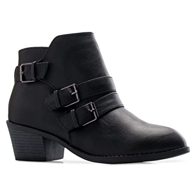 OLIVIA K Women's Western Buckle Stacked Low Heel Ankle Bootie Cut Out Style | Ankle & Bootie