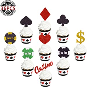 36 PCS Poker Heart Las Vegas Cupcake Toppers Glitter Playing Cards for Boys Girls Muffin Cake Fruit Food Picks Casino Birthday Party Decorations Supplies