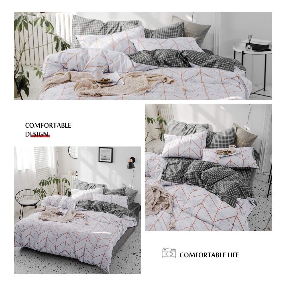 Twin VCBSD-T 1 Duvet Cover and 2 Pillow Cases VClife Twin Bedding Sets Hotel Quality Cotton Grey Duvet Cover Chic Stripe Pattern Bedding Collection Kids Teens Adults Soft Bed Sets for All Season