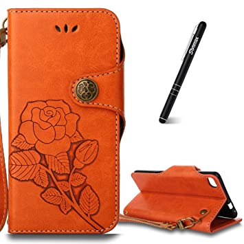 Huawei P8 Case, Slynmax Floreale Vintage Rose Design Custodia A Portafoglio  In Ecopelle In TPU