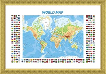 Amazon alonline art physical modern flags world map gold alonline art physical modern flags world map gold framed poster print on 100 gumiabroncs Image collections