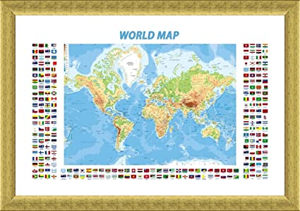 Amazon alonline art physical modern flags world map gold alonline art physical modern flags world map gold framed poster print on 100 gumiabroncs Gallery