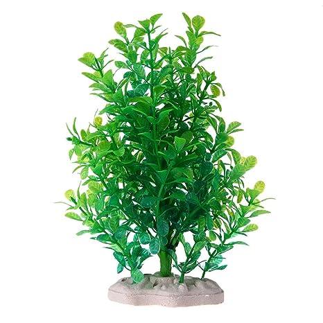 Domybest Planta Artificial Planta Plástico Pequeño Árbol Acuario Pecera Decoración Paisaje Verde