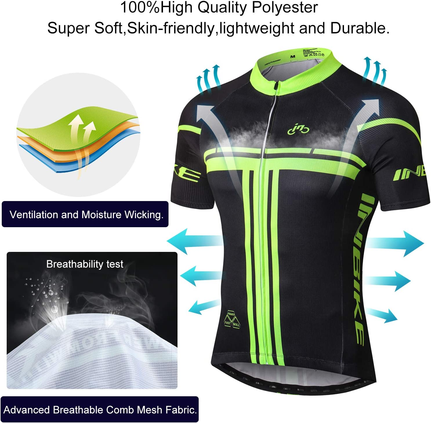 INBIKE Kurzarm Radtrikot T-Shirt Herren Damen Elastische Atmungsaktive Schnell Trocknen Stoff Funktionsshirt f/ür Radsport Outdoor Sport