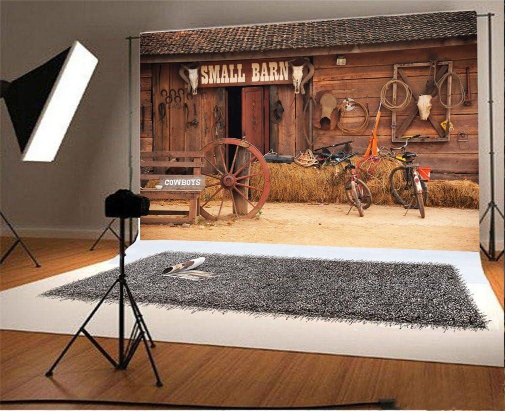 YongFoto 2,2x1,5m Vinyle Toile de Fond Maison en bois rurale Petite grange Lautomne Fond D/écors Studio Photo Portrait Enfant Video Fete Mariage Photobooth Photographie Accesorios
