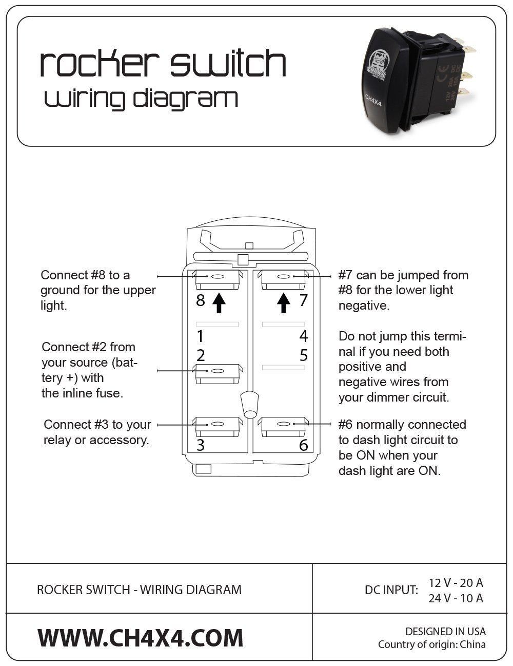 Ch4x4 Rocker Switch V2 Rear Strobe Lights Symbol Industries Wiring Diagram